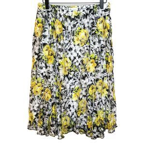 Christopher & Banks M Yellow Black Floral Skirt